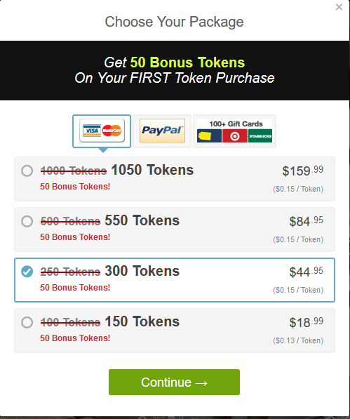 Tokens for Gift Cards